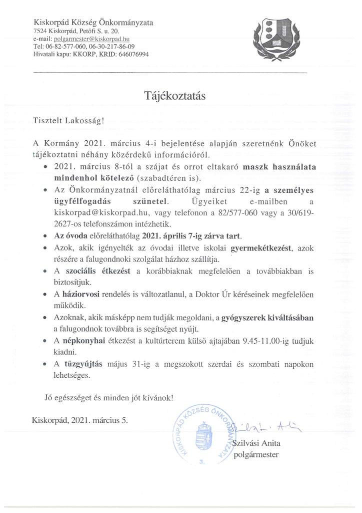 Tájékoztatás 2021. 03. 05.